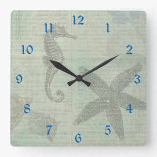 Vintage Sea Shells, Starfish, and SeaHorse Square Wall Clock