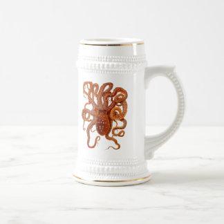 vintage sea wildlife - octopus - beer mug