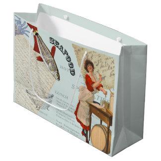 Vintage Seafood Cooking Large Gift Bag