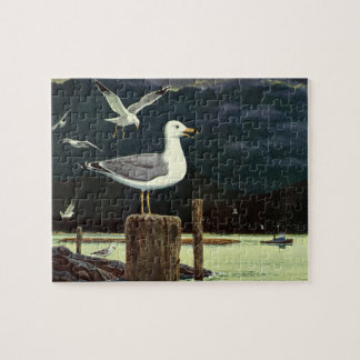 Vintage Seagull Perched Pier, Marine Birds Animals Jigsaw Puzzle