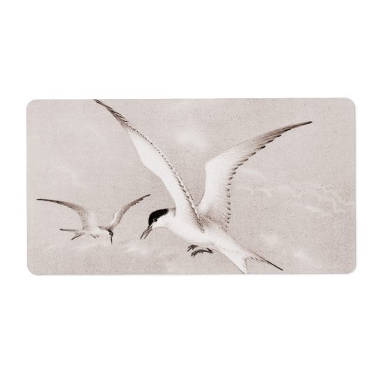 Vintage Seagulls Customised Retro Seagull Template Shipping Label