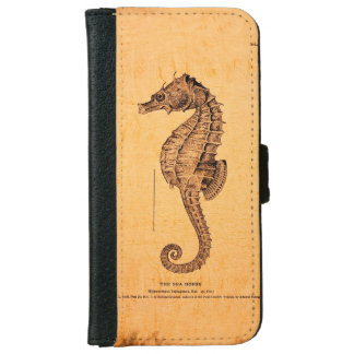 Vintage Seahorse Illustration iPhone 6 Wallet Case