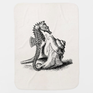 Vintage Seahorse Sea Horse Trumpet Shell Beach Baby Blanket