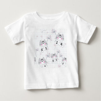 Vintage seamless cute cat blue grey pastel kitty baby T-Shirt