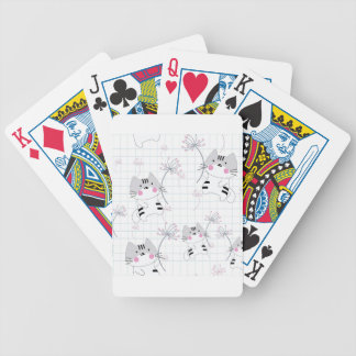 Vintage seamless cute cat blue grey pastel kitty bicycle playing cards