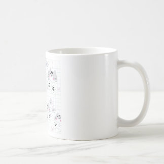 Vintage seamless cute cat blue grey pastel kitty coffee mug