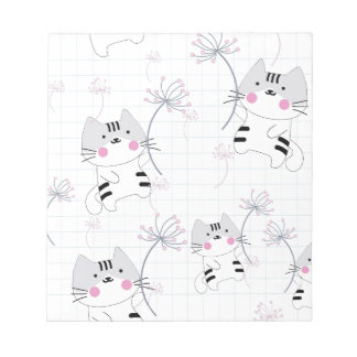 Vintage seamless cute cat blue grey pastel kitty notepad