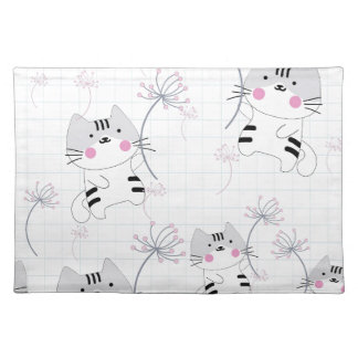 Vintage seamless cute cat blue grey pastel kitty placemat