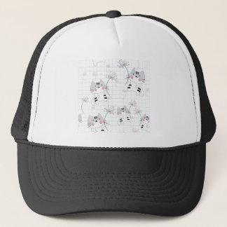 Vintage seamless cute cat blue grey pastel kitty trucker hat