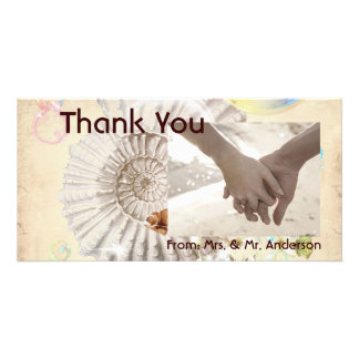 Vintage seashell butterfly wedding thank You Photo Cards