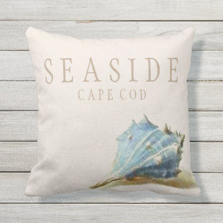 Vintage Seashell Seaside Beach House Outdoor Outdoor Cushion