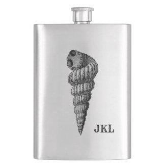 Vintage Seashell with Monogram Hip Flask