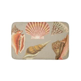 Vintage Seashells beach decor Bath Mat