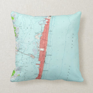 Vintage Seaside Heights NJ Map (1953) Cushion