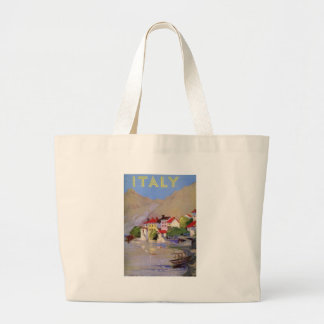 Vintage Seaside Village Italy Tourism Large Tote Bag