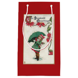 Vintage Season's Greetings Girl Small Gift Bag