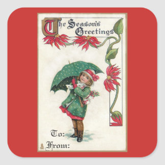 Vintage Season's Greetings Girl Square Sticker
