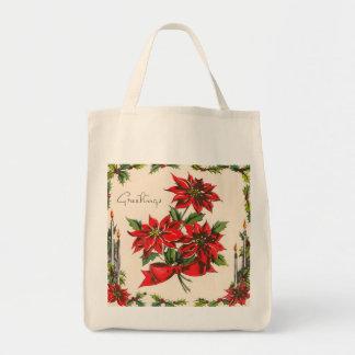 Vintage Season's Greetings Organic Grocery Tote Tote Bags