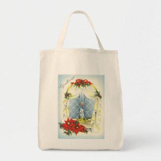 Vintage Season's Greetings Organic Grocery Tote Canvas Bags