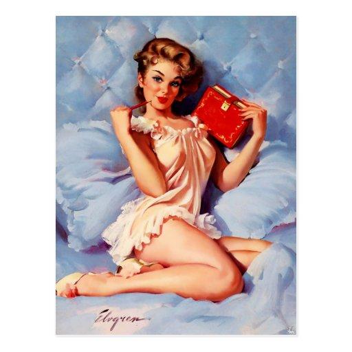 Vintage Secret Diary Gil Elvgren Pin Up Girl Post Cards
