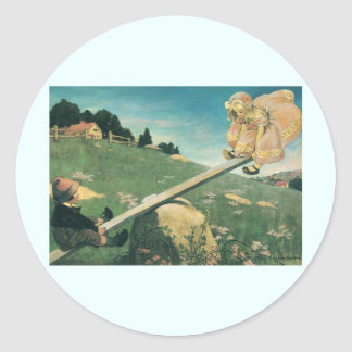 Vintage See Saw Margery Daw, Jessie Willcox Smith Classic Round Sticker