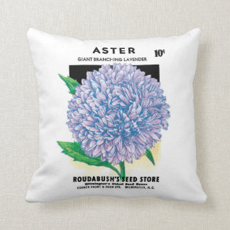 Vintage Seed Packet Art, Purple Aster Flowers Cushion
