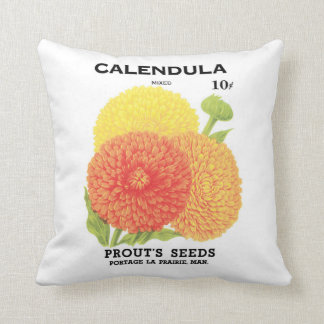 Vintage Seed Packet Label Art, Calendula Flowers Cushion
