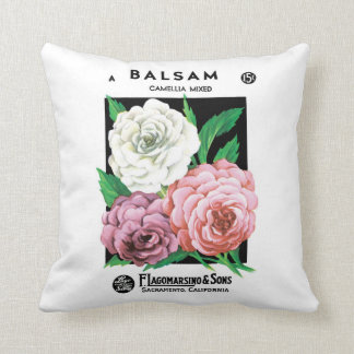 Vintage Seed Packet Label Art, Camellia Flowers Cushion
