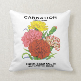 Vintage Seed Packet Label Art, Carnation Flowers Cushion