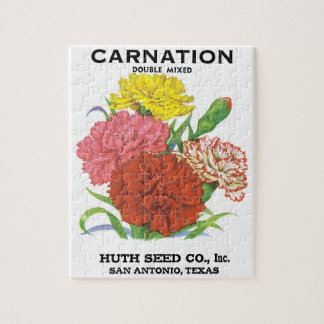 Vintage Seed Packet Label Art, Carnation Flowers Jigsaw Puzzle