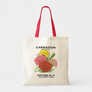 Vintage Seed Packet Label Art, Carnation Flowers Tote Bag