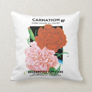 Vintage Seed Packet Label Art, Carnations Flowers Cushion