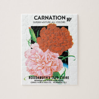 Vintage Seed Packet Label Art, Carnations Flowers Jigsaw Puzzle