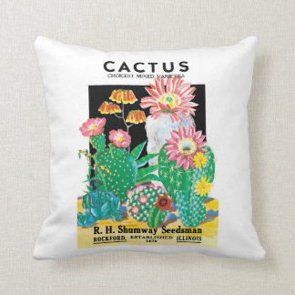 Vintage Seed Packet Label Art Desert Cactus Plants Cushion