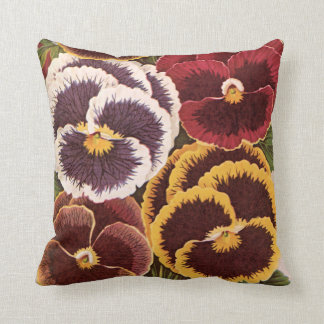 Vintage Seed Packet Label Art, Garden Pansies Cushion