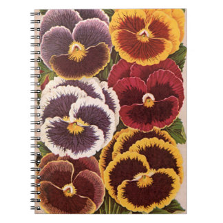 Vintage Seed Packet Label Art, Garden Pansies Notebook