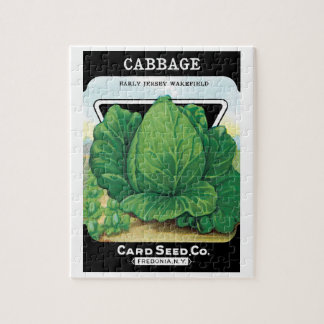 Vintage Seed Packet Label Art, Green Cabbage Jigsaw Puzzle