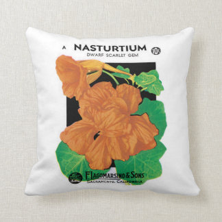 Vintage Seed Packet Label Art, Nasturtium Flowers Cushion