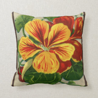 Vintage Seed Packet Label Art, Nasturtiums Cushion