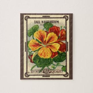 Vintage Seed Packet Label Art, Nasturtiums Jigsaw Puzzle