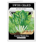 Vintage Seed Packet Label Art, Swiss Chard Veggies Greeting Card