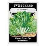 Vintage Seed Packet Label Art, Swiss Chard Veggies Greeting Card