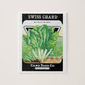 Vintage Seed Packet Label Art, Swiss Chard Veggies Jigsaw Puzzle