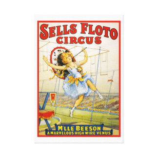 Vintage Sells Floto Circus High Wire Performance Canvas Print