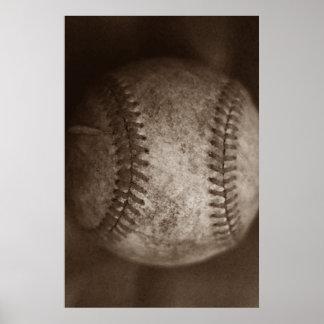 Vintage Sepia Baseball Unique Artwork Poster