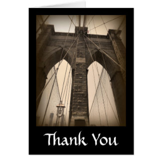 Vintage Sepia Brooklyn Bridge Card