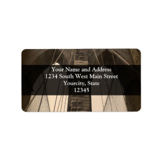 Vintage Sepia Brooklyn Bridge Label