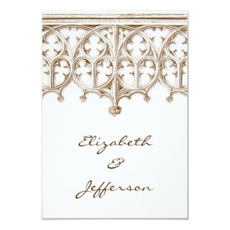 Vintage Sepia Cathedral Wedding RSVP Card