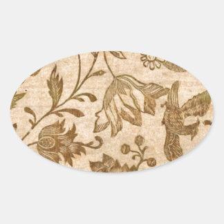 Vintage Sepia Floral Pattern Design Oval Sticker