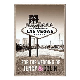 "Vintage Sepia Las Vegas Modern Wedding Invites 5"" X 7"" Invitation Card"